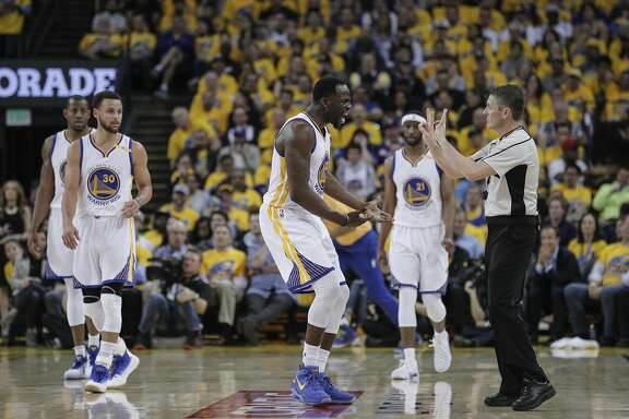 Golden State Warriors' Draymond Green reacts to a call in the first quarter during Game 2 of the First Round of the Western Conference 2017 NBA Playoffs at Oracle Arena on Wednesday, April 19, 2017 in Oakland, Calif.