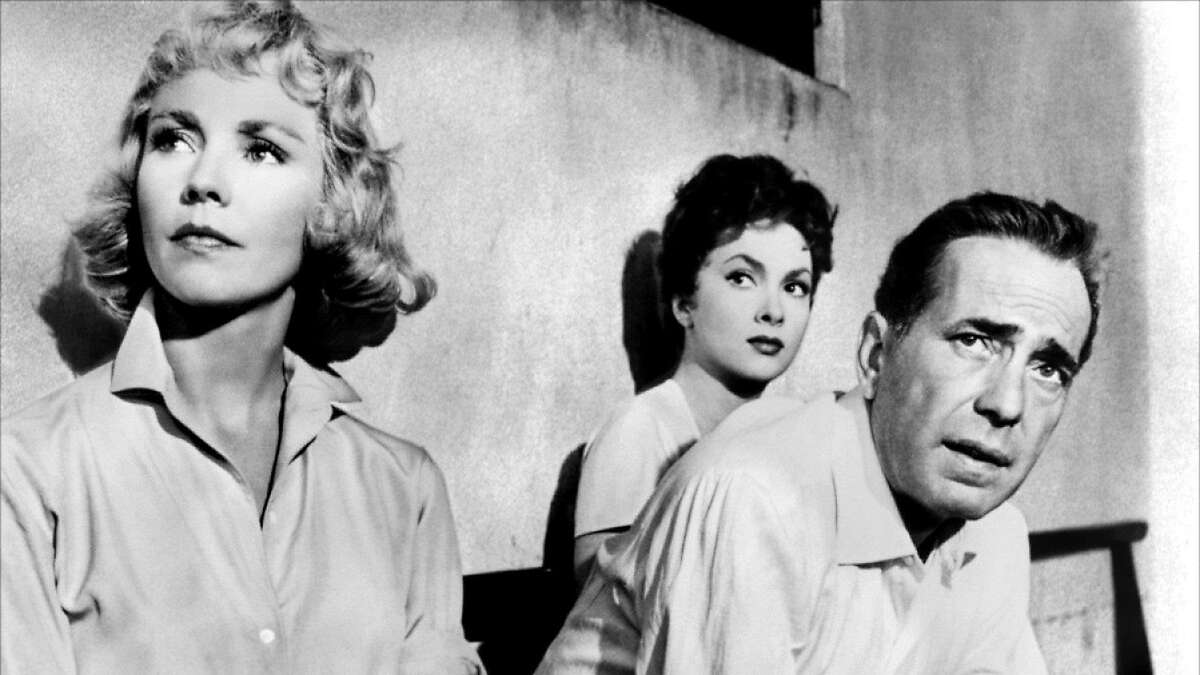 Jennifer Jones (left), Gina Lollobrigida and Humphrey Bogart star in John Huston's