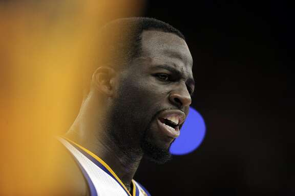Draymond Green (23) talks to fans along the sideline during the second half as the Golden State Warriors played against the Portland Trail Blazers in Game 2 of the first round of the NBA Playoffs at Oracle Arena in Oakland, Calif., on Wednesday, April 19, 2017.