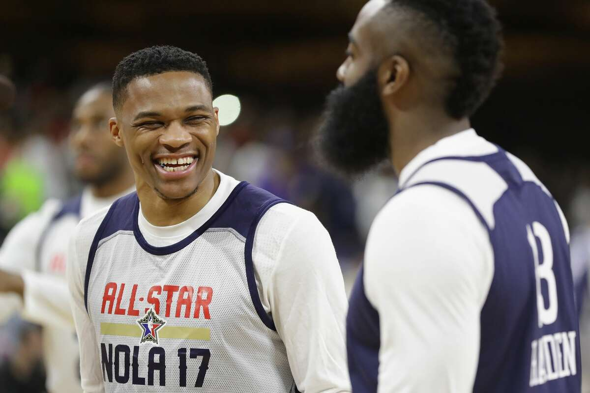 NEW ORLEANS, LA - FEBRUARY 18: Russell Westbrook #0 of the Oklahoma City Thunder reacts with James Harden #13 of the Houston Rockets during practice for the 2017 NBA All-Star Game at the Mercedes-Benz Superdome on February 18, 2017 in New Orleans, Louisiana. (Photo by Ronald Martinez/Getty Images)