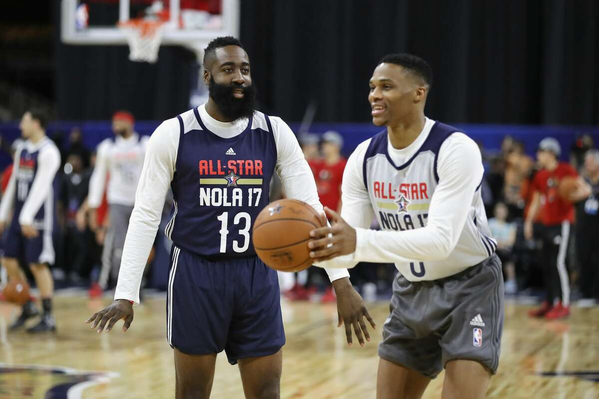 NEW ORLEANS, LA - FEBRUARY 18: James Harden #13 of the Houston Rockets talks with Russell Westbrook #0 of the Oklahoma City Thunder during practice for the 2017 NBA All-Star Game at the Mercedes-Benz Superdome on February 18, 2017 in New Orleans, Louisiana. (Photo by Ronald Martinez/Getty Images)