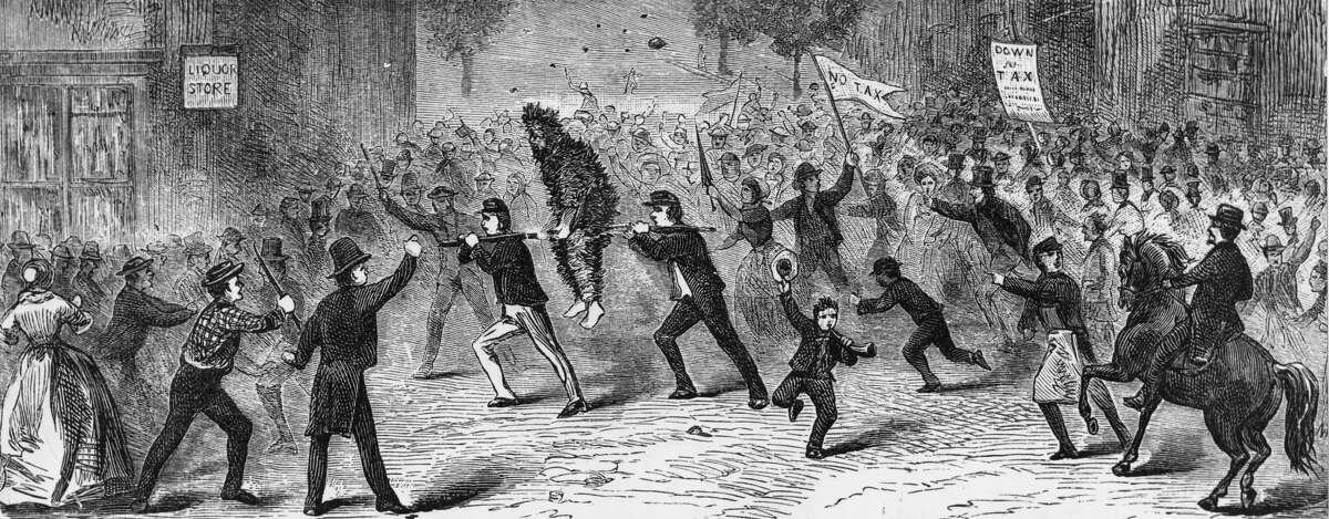 Protestors in Pennsylvania, carrying a tax collector, who has been tarred and feathered, through a hostile crowd, during the Whiskey Rebellion of 1794. The tax imposed under the Whiskey Act of 1791 was one of the principal grievances of western states against the eastern-based national government of President George Washington.
