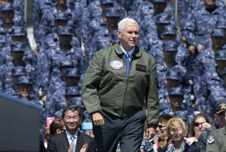 Vice President Mike Pence speaks while on  the USS Ronald Reagan aircraft carrier at the U.S. naval base in Yokosuka, Japan, on Wednesday. Photo: Tomohiro Ohsumi / Bloomberg / © 2017 Bloomberg Finance LP