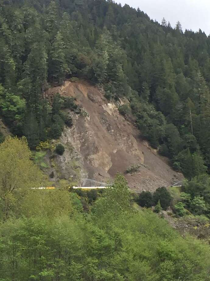 A massive landslide blocked Highway 101 north of Leggett in Mendocino County.