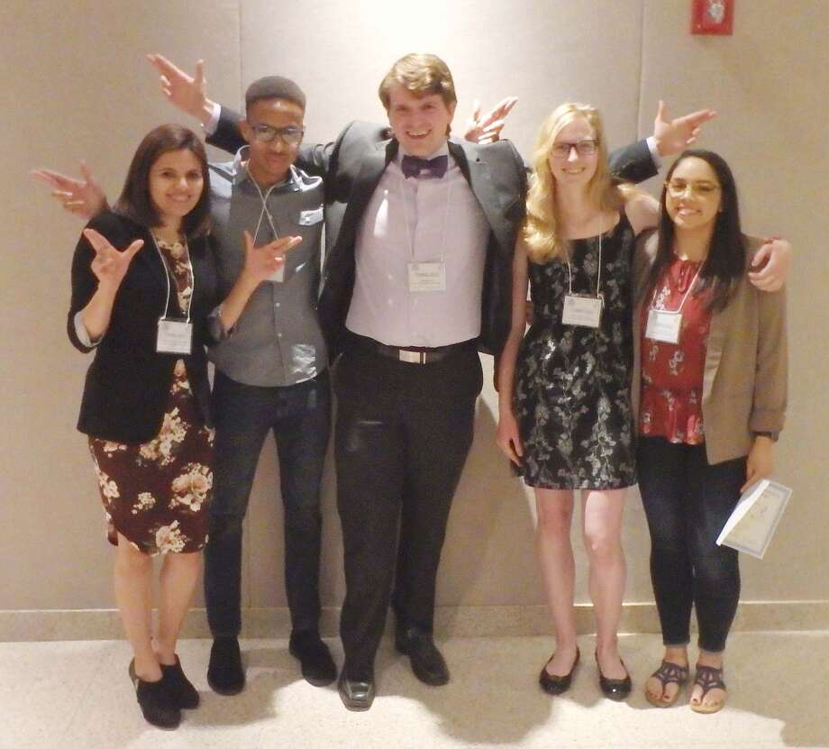Wayland students Mayra Herrera (left), Josiah Morales, Jake Brozek, Sara Van Der Leek and Tori Solis participated in the Texas Tech Association of Biological Scientists Annual Symposium at Texas Tech University.