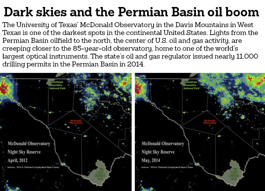 Oil field flares and lights creeping closer to the famed