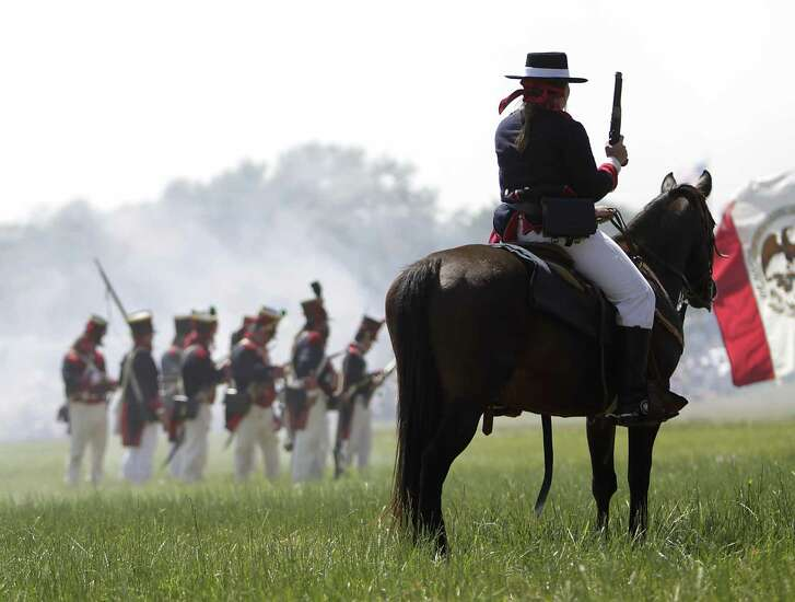 Re-enactors simulate events the day before the Battle of San Jacinto on the grounds of the San Jacinto Battleground in 2011 in Houston, as hundreds of history re-enactors recreate the events leading up to and including the Battle of San Jacinto.