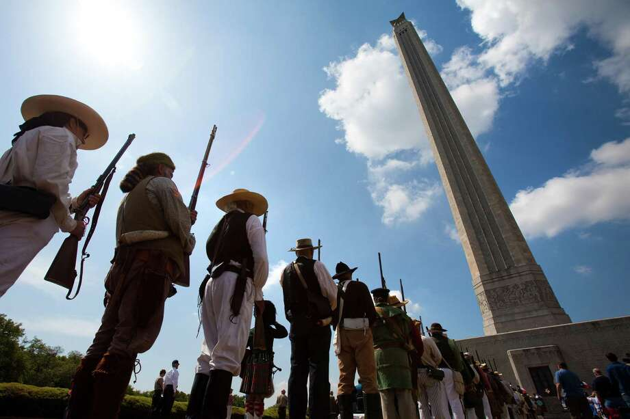 Members of the Texas Army stand in formation during ceremonies commemorating the Anniversary of the Battle of San Jacinto at the San Jacinto Monument in 2010 in La Porte. The group is the state's Official 1836 Ceremonial and Reenactment Group. Photo: Smiley N. Pool /Chronicle / © 2010 Houston Chronicle