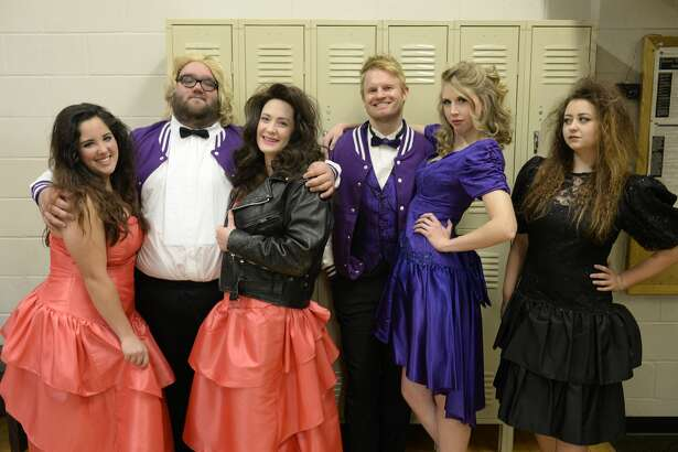"""From left, Morgan Permenter, Daniel Collins, Whitney Smith, Mark Kaufman, Caitlin Miles and Hannah Taylor go back to school in """"The Awesome '80s Prom."""""""