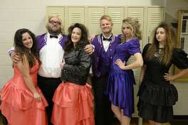 "From left, Morgan Permenter, Daniel Collins, Whitney Smith, Mark Kaufman, Caitlin Miles and Hannah Taylor go back to school in ""The Awesome '80s Prom."""