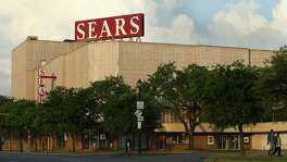 The Sears at 4201 Main, the city's oldest Sears store, had its original facade shrouded with corrugated metal in the 1960s.
