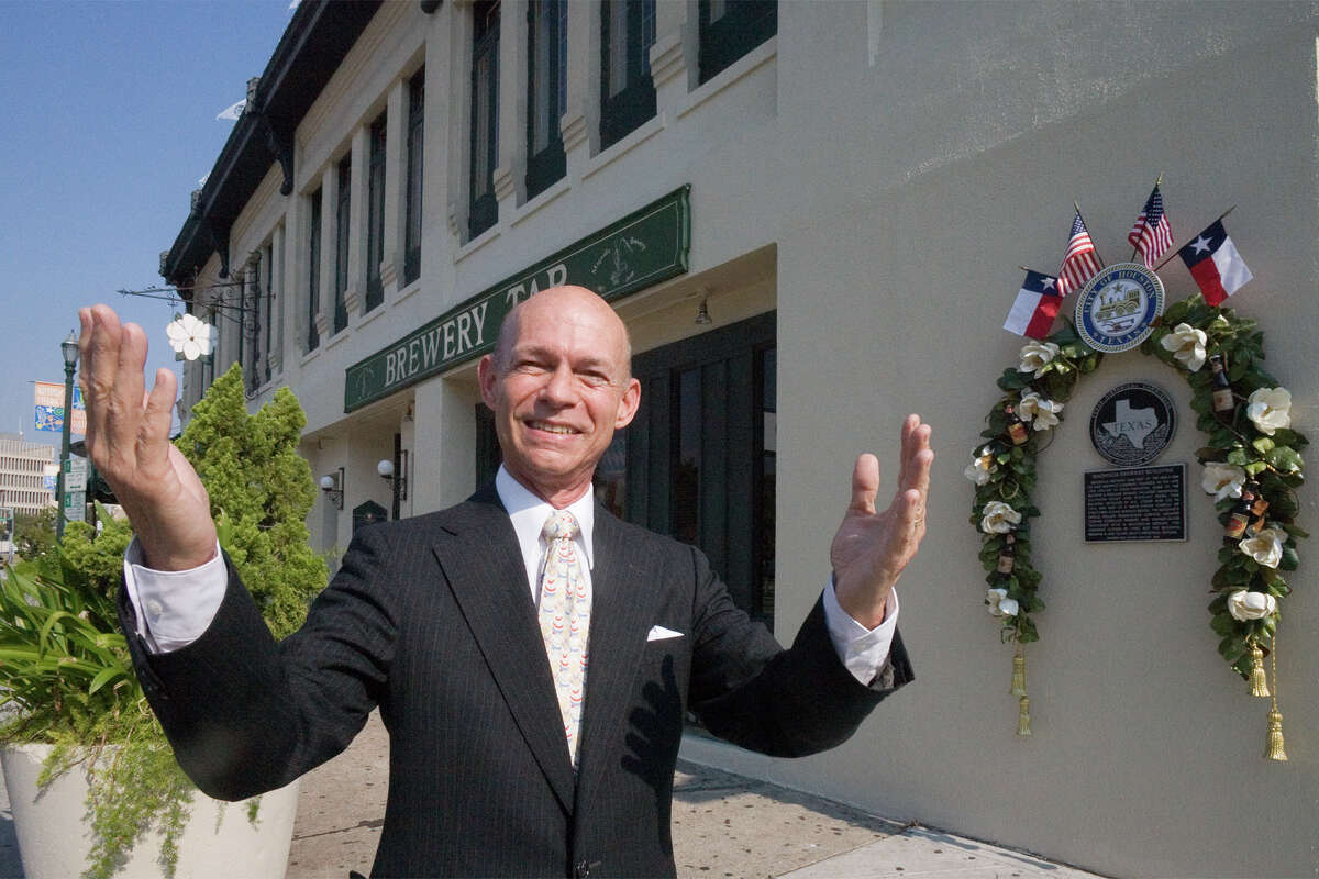 Bart Truxillo, developer, preservationist, bon vivant, patron of the arts, etc etc etc, is shown outside the Magnolia Brewery Building, which he rescued and restored and which is to be designated a Houston Protected Landmark. (For more photos of Truxillo and the historic buildings he saved, scroll through the gallery.)