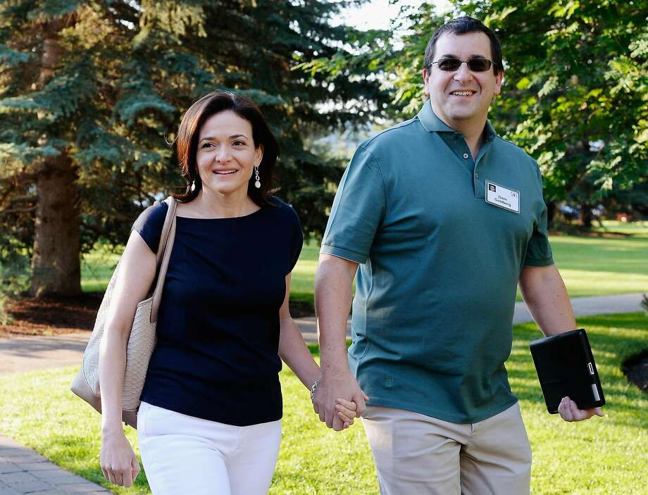 "Dave Goldberg and Sheryl Sandberg. Sandberg was devastated by Goldberg's death in 2015. Her new book, written with psychology professor Adam Grant, is called ""Option B: Facing Adversity, Building Resilience and Finding Joy."" Photo: Kevork Djansezian"