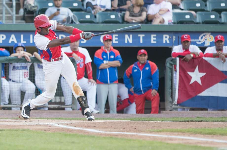 POMONA, NY - JUNE 24: Luis Robert Moiran of the Cuban National Team takes a turn at bat against the Rockland Boulders at Palisades Credit Union Park on June 24, 2016 in Pomona, New York. The Cubans won, 6-1. (Photo by Charles Norfleet/Getty Images) Photo: Charles Norfleet/Getty Images