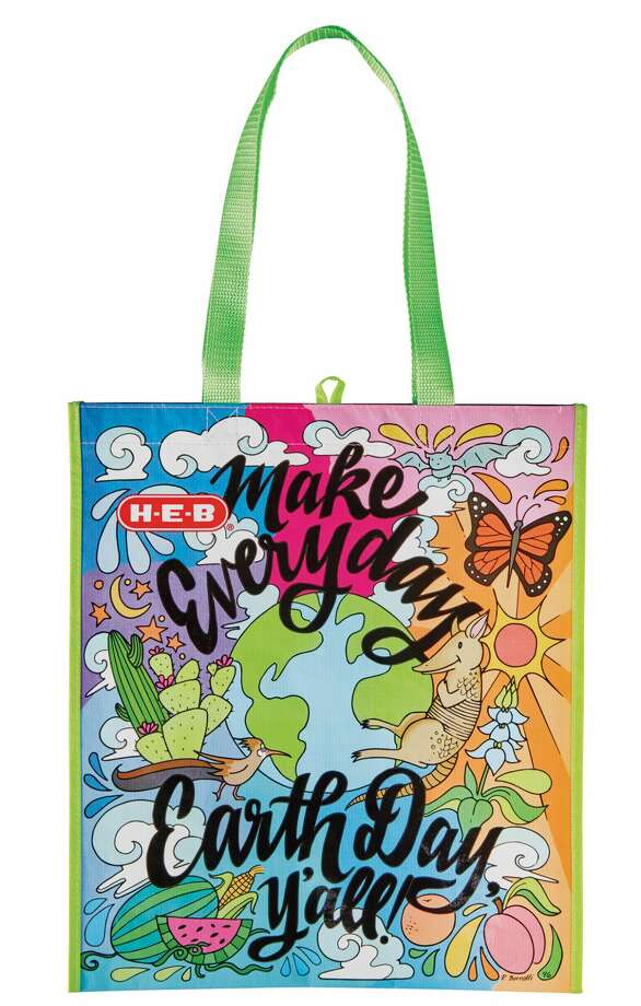 H-E-B's Earth Day reusable shopping bag for 2017 was designed by Texas artist Becca Borrelli, who illustrates adult coloring books. Photo courtesy H-E-B. Photo: H-E-B