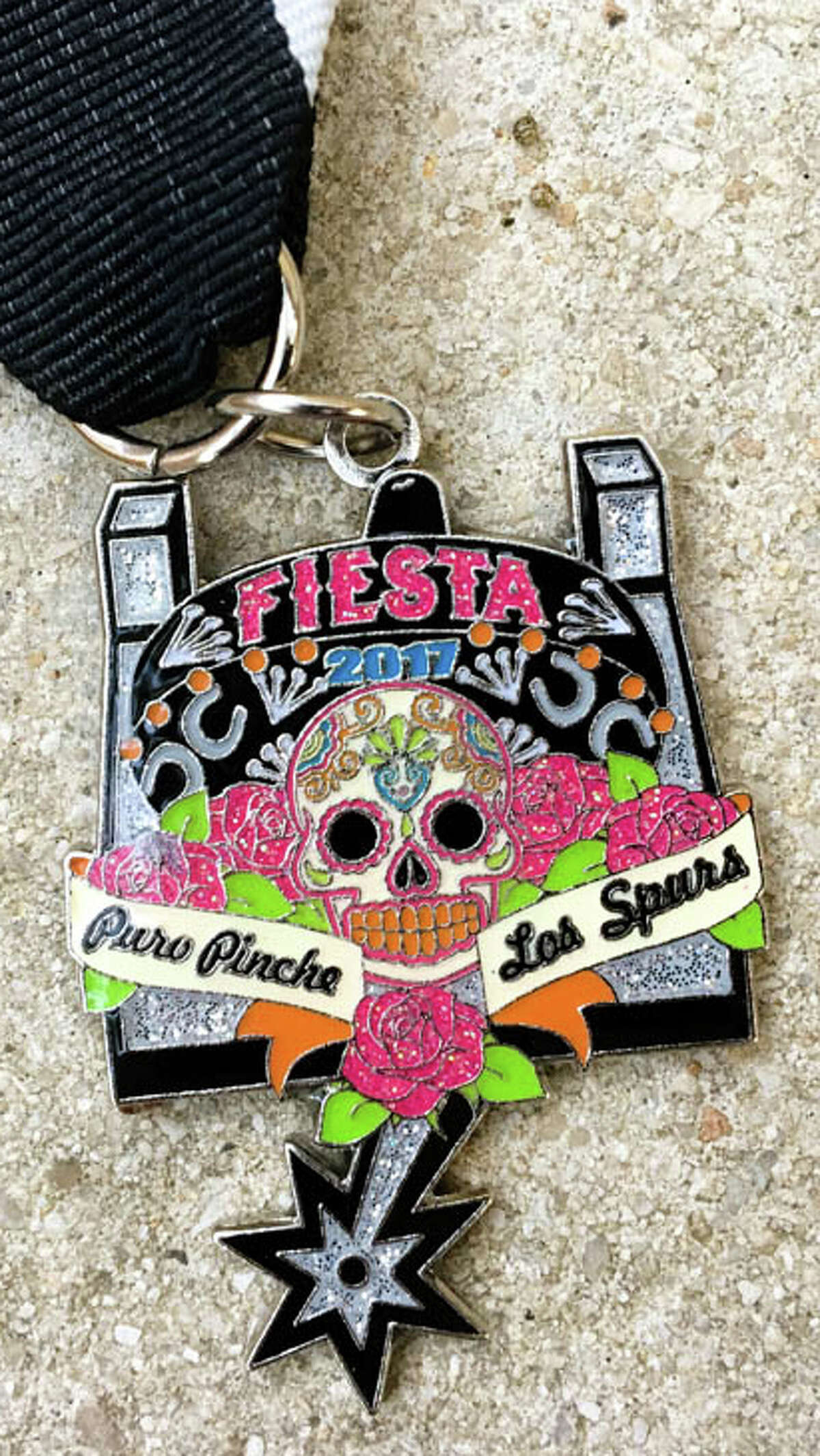 Puro Pinche Spurs by Audrey Haake: Personal medal: for those who love calaveras and Spurs
