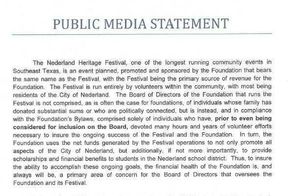Statement sent from the Law Offices of James Wimberly on behalf of the Nederland Heritage Festival.