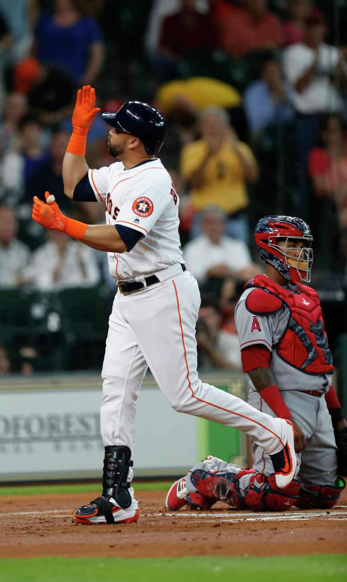 Houston Astros Carlos Beltran (15) celebrates after his solo home run during the first inning of an MLB Thursday, April 20, 2017, in Houston.