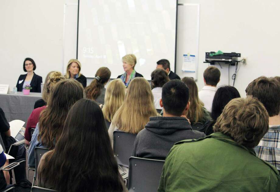 State Rep. Cristin McCarthy Vahey, D-133, left, Rep. Brenda Kupchick, R-132, Rep. Laura Devlin, R-134, and Sen. Tony Hwang, R-28, speak to students at Fairfield Ludlowe High School on April 18, 2017 in Fairfield, Conn. Photo: Laura Weiss / Hearst Connecticut Media / Fairfield Citizen