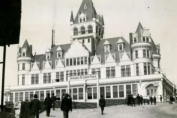 This incarnation of the Cliff House, at San Francisco's Land's End, was built in 1894, opened in 1896, survived the 1906 earthquake, only to burn down September 7, 1907.