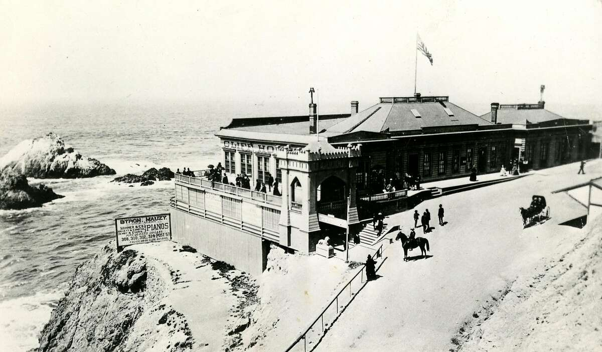 Circa 1878 photo of the first Cliff House and seal rocks in San Francisco.