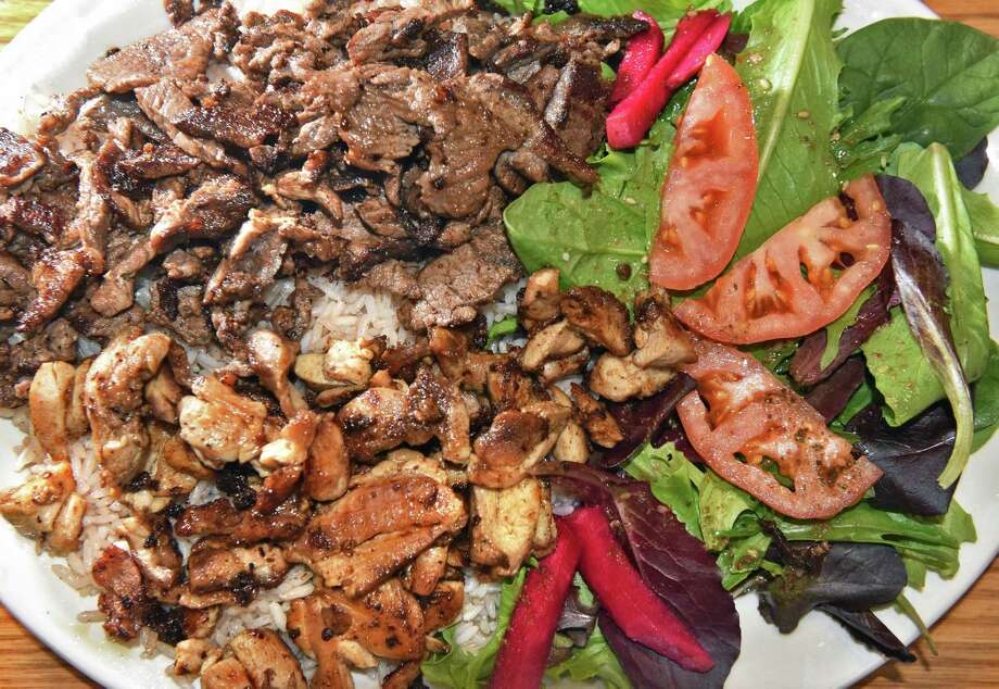 A mix Shawarma platter at Phoenicians Mediterranean Palace in the 71 Fuller plaza Tuesday April 18, 2017 in Colonie, NY.  (John Carl D'Annibale / Times Union) Photo: John Carl D'Annibale / 20040285A