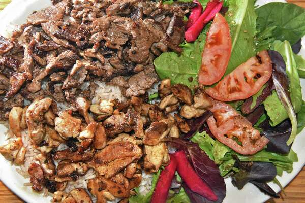 A mix Shawarma platter at Phoenicians Mediterranean Palace in the 71 Fuller plaza Tuesday April 18, 2017 in Colonie, NY.  (John Carl D'Annibale / Times Union)