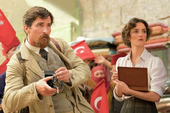 "Charlotte Le Bon, right, and Christian Bale star in ""The Promise,"" a fictional account of a tragic period."