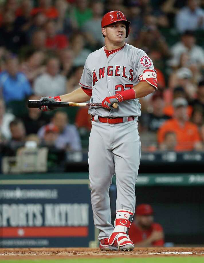 Mike Trout was scratched from the Angels' lineup just before first pitch Saturday night between the Astros and Angels. Photo: Karen Warren, Houston Chronicle / 2017 Houston Chronicle