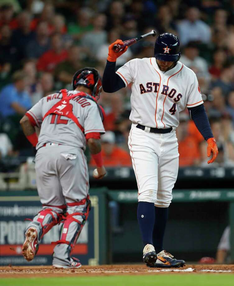 Astros George Springer injured his hamstring Saturday night against Tampa Bay, but he may only miss one game. He is not in the lineup for Sunday's series finale. Photo: Karen Warren, Houston Chronicle / 2017 Houston Chronicle