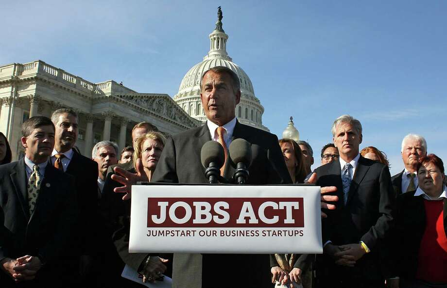 WASHINGTON, DC - FEBRUARY 28:  House Speaker John Boehner (R-OH), speaks about the Jobs act during a news conference at the U.S. Capitol on February 28, 2012 in Washington, DC. House Republican leaders unveiled the JOBS Act, which is a comprehensive compilation of bills aimed at providing a much needed boost to America's small businesses, and entrepreneurs. Photo: Mark Wilson, Getty Images / 2012 Getty Images
