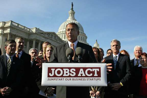WASHINGTON, DC - FEBRUARY 28:  House Speaker John Boehner (R-OH), speaks about the Jobs act during a news conference at the U.S. Capitol on February 28, 2012 in Washington, DC. House Republican leaders unveiled the JOBS Act, which is a comprehensive compilation of bills aimed at providing a much needed boost to America's small businesses, and entrepreneurs.