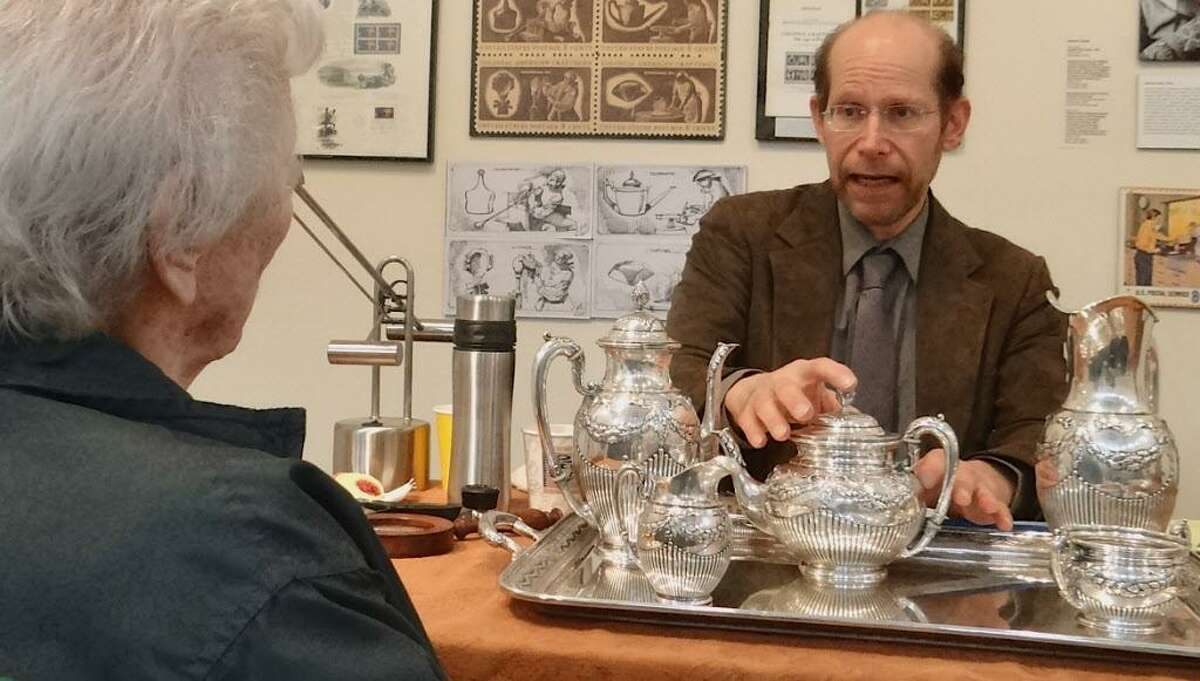 James Lipton, of Appraisers Associates, offers his opinion on a late 19th century German silver tea set during a program at the Westport Historical Society several years ago.