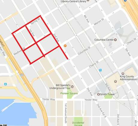 Two Seattle police officers sustained minor injuries following a shooting Thursday afternoon in downtown Seattle.  The shooting, which appears to have followed a robbery, prompted road closures in the four-block area centered on First Avenue and Madison Street downtown.