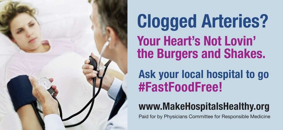 A new billboard campaign begins Monday taking aim at Houston hospitals that allow fast food restaurants in their facilities. This year's message focuses on the McDonald's in Ben Taub Hospital.Keep clicking to see fast food items that have failed.  Photo: Photo Courtesy Of Physicians Committee For Responsible Medicine
