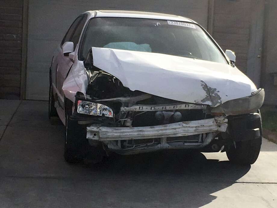 Shown is the 2002 Honda Accord involved in a March 3 crash in which an exploding Takata air bag inflator badly injured the driver, Karina Dorado. The incident has exposed a danger posed by the recalled parts: Nothing prevents the reuse of air bags from older models to fix wrecked cars that can then be resold, often to unsuspecting buyers. Photo: Ken Ritter /Associated Press / Copyright 2017 The Associated Press. All rights reserved.