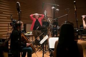"Bill Murray during a recoding session for ""New Worlds"" with Vanessa Perez, a pianist, his wife, Mira Wang, a violinist, and Jan Vogler, a cellist, at the DiMenna Center in New York, April 12, 2017. The actor and comedian will perform �New Worlds,� a program of songs and literary readings paired with chamber music led by Vogler, at Carnegie Hall in October. (Damon Winter/The New York Times)"