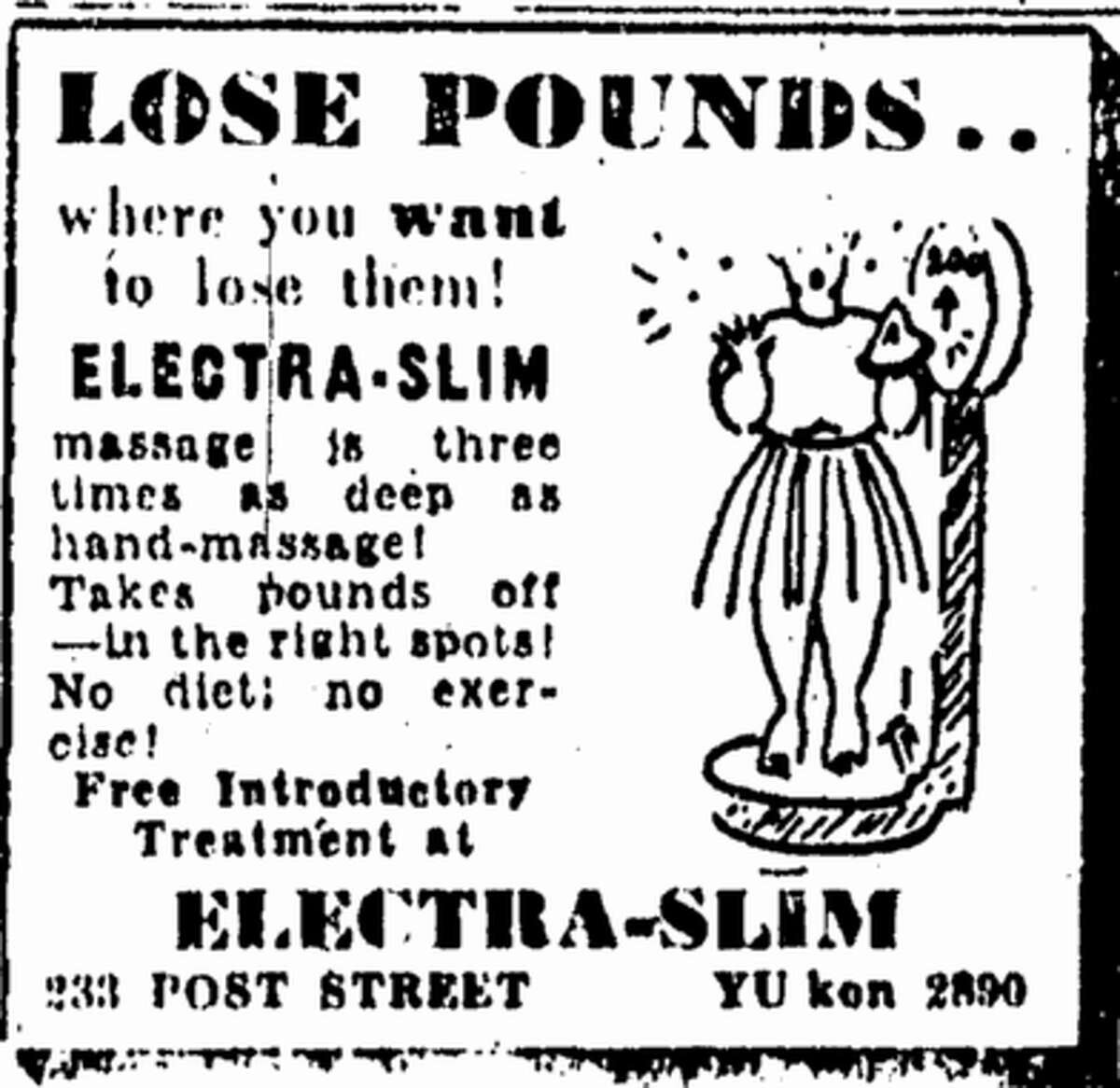 Electra-Slim: Those who wanted to lose weight in 1945 had the option to do so with Electra-Slim massages, which were,