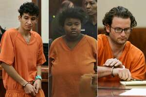 This composite image shows Miguel Angel Alvarez-Florez, Courtney Burks and Leon Phillip Jacob who have all been accused of some of the most shocking crimes of 2017.