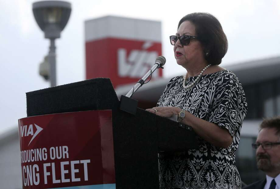 VIA Board Chair Hope Andrade speaks Thursday April 20, 2017 at the Medical Center Transit Center during the unveiling of buses powered by compressed natural gas. Andrade was elected VIA board chairwoman in January 2015. Photo: John Davenport /San Antonio Express-News / ©San Antonio Express-News/John Davenport