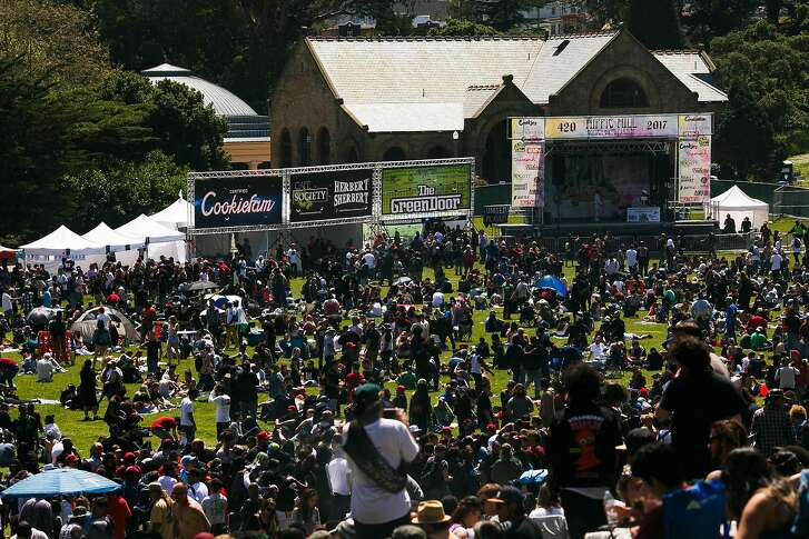 Thousands gathered for the annual 4/20 celebration near Hippie Hill at Golden Gate Park in San Francisco, Calif. Thursday, April 20, 2017.