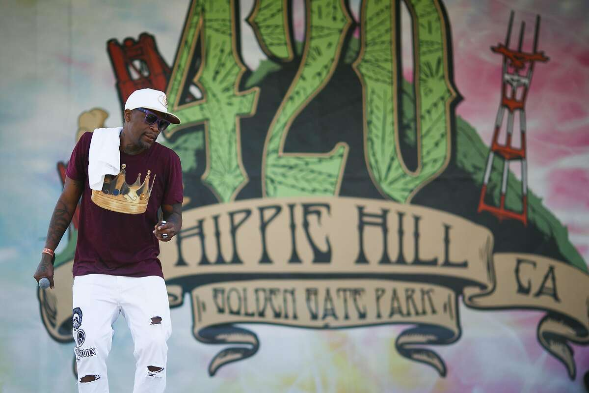 M-1 of Dead Prez performs during the annual 4/20 celebration near Hippie Hill at Golden Gate Park in San Francisco, Calif. Thursday, April 20, 2017.
