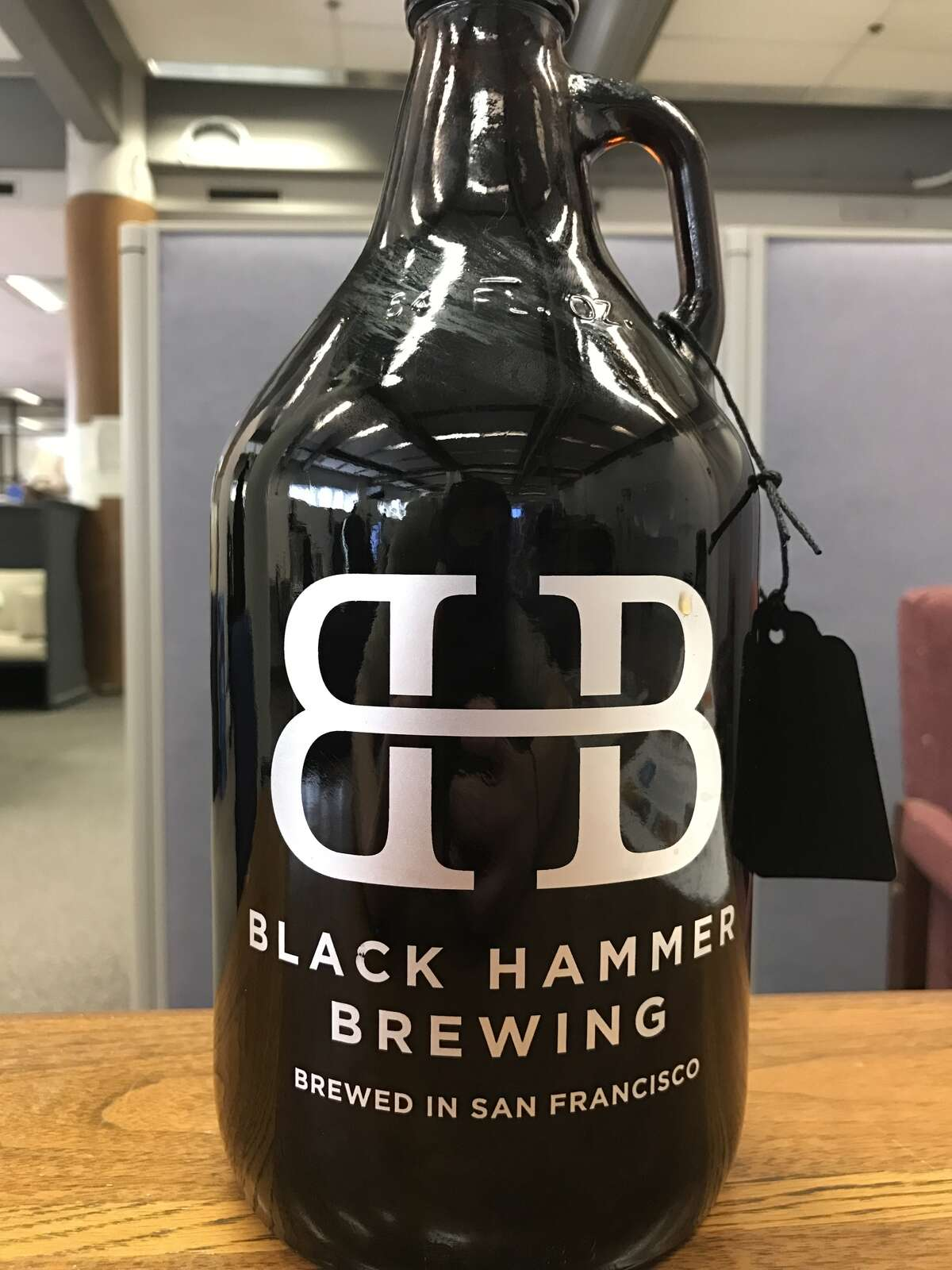 A growler of Black Hammer Brewing's Toke Back Mountain.