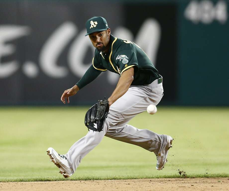Oakland Athletics shortstop Marcus Semien prepares to field a grounder by Texas Rangers' Mike Napoli, who was out at first during the sixth inning of a baseball game, Friday, April 7, 2017, in Arlington, Texas. (AP Photo/Jim Cowsert) Photo: Jim Cowsert, Associated Press