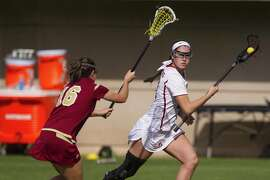 Stanford, CA - February 12, 2017: Kelsey Murray (right) of Stanford Women's Lacrosse team competes against Denver University at Laird Q. Cagan Stadium at Maloney Field in Stanford, Calif.