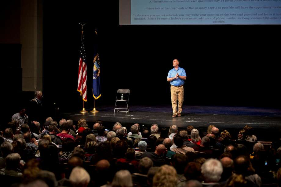 U.S. Rep. John Moolenaar addresses the crowd during his district-wide listening session on Thursday at Central Michigan University's Plachta Auditorium. Photo: Erin Kirkland/Midland Daily News