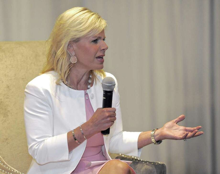 "Former Fox News commentator Gretchen Carlson speaks during the ""Conversations with Extraordinary Women"" conference in Danbury on Thursday. Photo: H John Voorhees III / Hearst Connecticut Media / The News-Times"