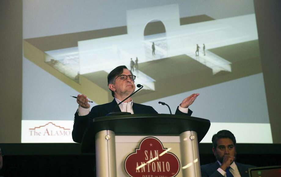 George Skarmeas, lead alamo master planner, talks about the glass viewing area as proponents of the Alamo Endowment project hold a presentation, listen to comments and answer questions at the Convention Center on April 18, 2017. Photo: Tom Reel, Staff / San Antonio Express-News / 2017 SAN ANTONIO EXPRESS-NEWS
