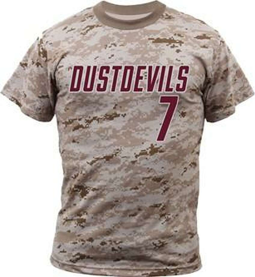 TAMIU will wear special jerseys for its military appreciation game against St. Edward's at 3 p.m. Saturday at Uni-Trade Stadium. Replica jersey T-shirts will be available for $25 with proceeds benefiting the TAMIU Student Veterans Association. Photo: Courtesy Of TAMIU Athletics