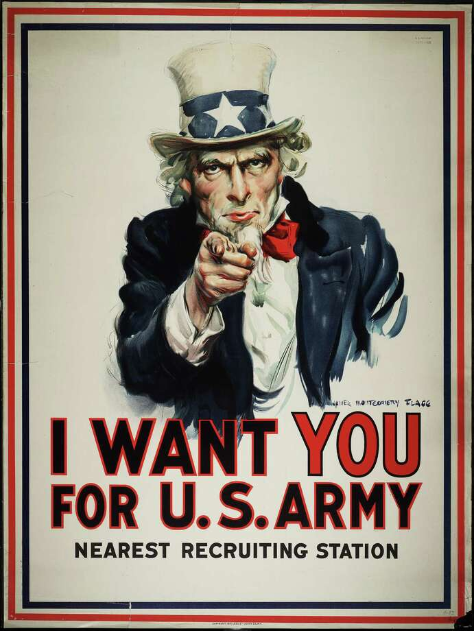 "The State Museum in Albany exhibit on the centennial of World War I, A Spirit of Sacrifice: New York State in the First World War, will be on display from April 15, 2017, through June 3, 2018. ""I Want You"" (1917) Artist: James Montgomery Flagg. Printer: Leslie-Judge Co., New York Publisher: United States Army. This recruiting poster featuring Uncle Sam became an iconic call to arms. Over four million copies of the poster were printed. (New York State Library/Courtesy of State Museum) Photo: Courtesy Of State Museum"